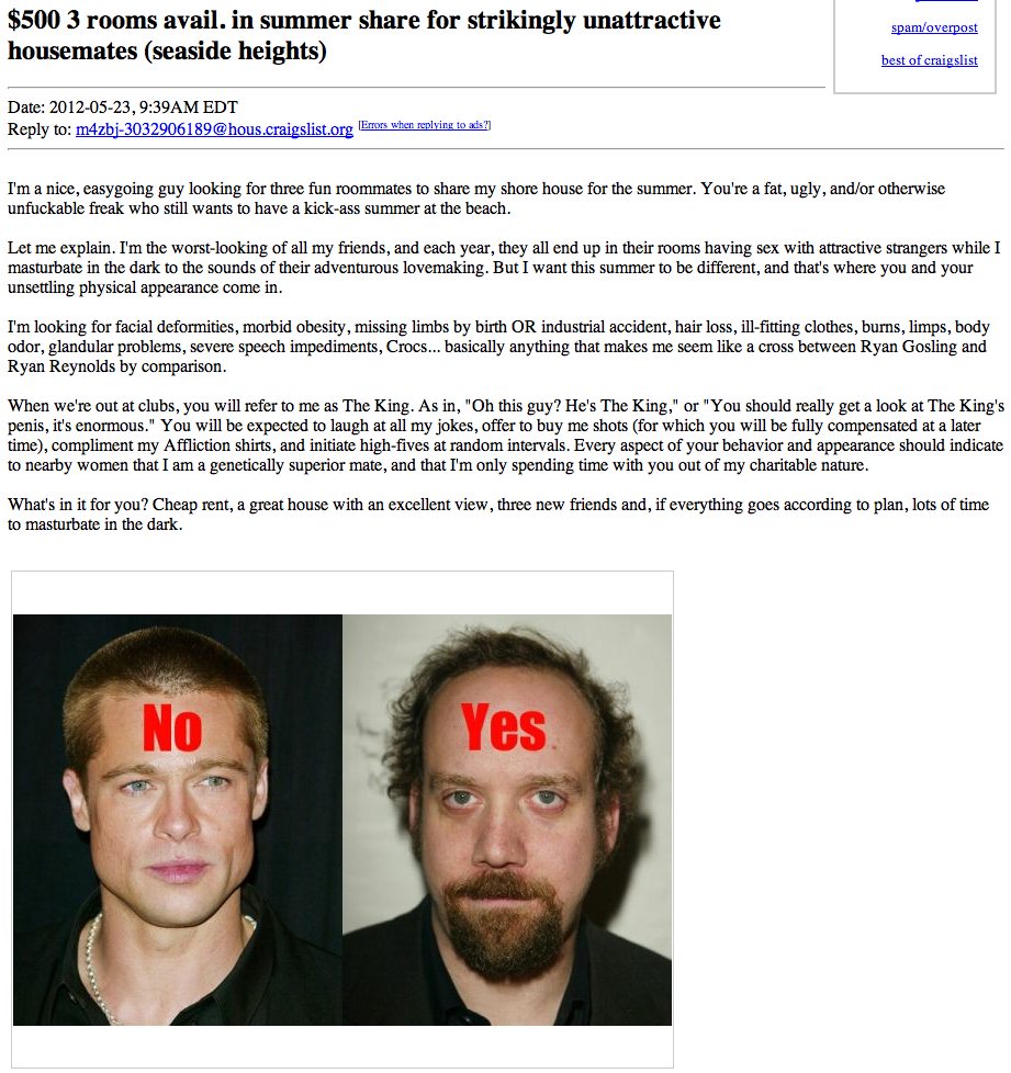 Craigslist ad offers great summer house opportunity for ugly people.