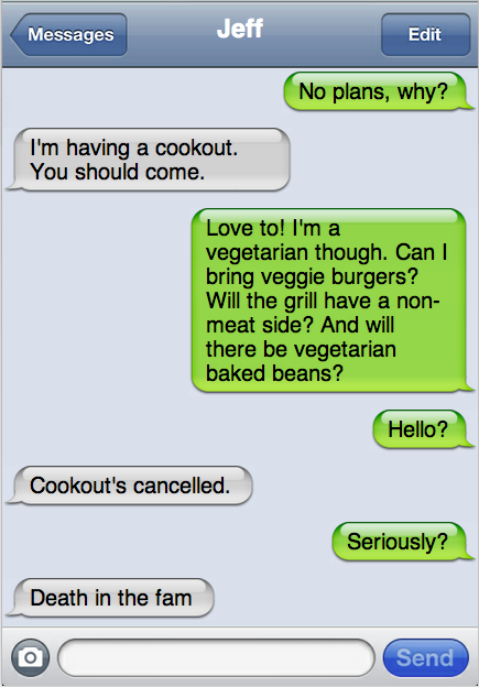 Text message demonstrates the downside of being a vegetarian this weekend.