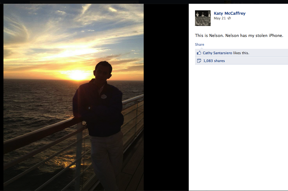 Woman posts photo updates of beautiful cruise taken by man who stole her iPhone.