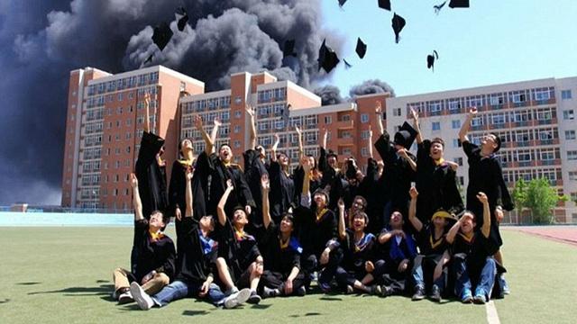 A graduation photo even more ominous than your post-graduation job prospects.