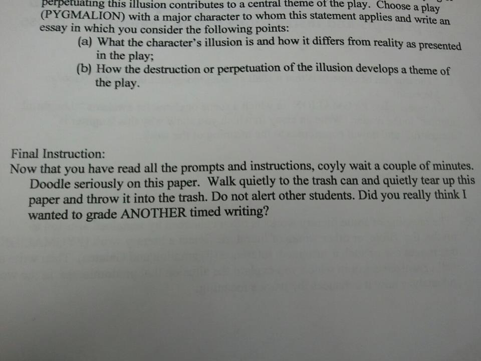 Professor plays genius prank on exam day.