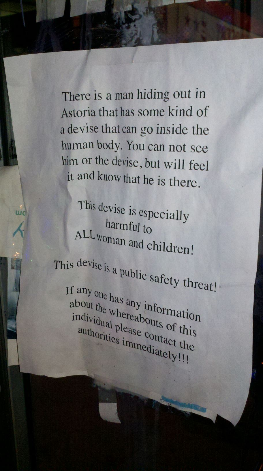 The most ominous neighborhood safety flyer ever posted by an obviously insane person.