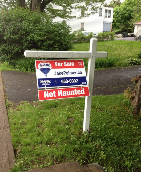 """House's """"for sale"""" sign makes suspiciously ominous claim."""