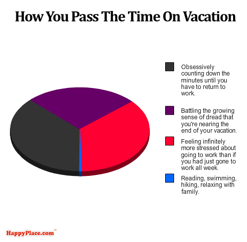 A tragically accurate breakdown of you spend your time on vacation.