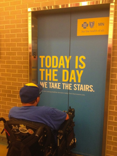 Elevator ad is unintentionally cruel to people who really need elevators.
