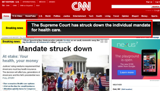 CNN now reporting steady stream of wildly inaccurate headlines.