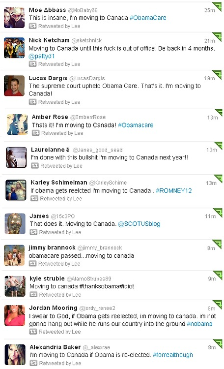 A collection of tweets from people saying they're moving to Canada to get away from socialized medicine.