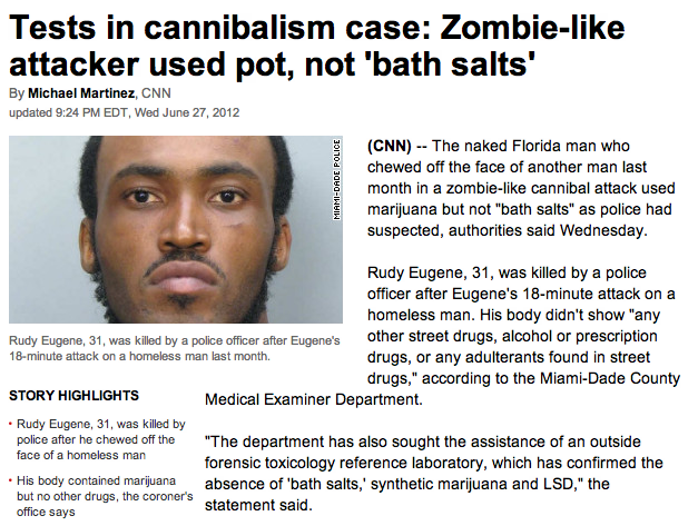 Breaking: Bath Salts totally fine, but pot causes face-munchies.