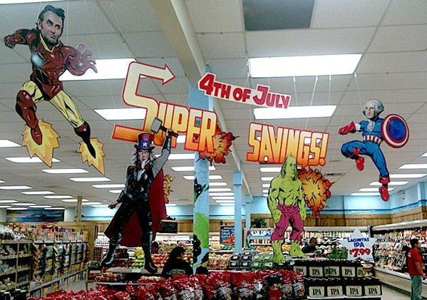 A supermarket display that will make you proud to be an American.