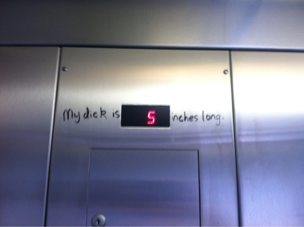 How a little graffiti can make your elevator ride extremely intimate.