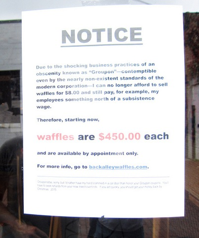The angriest note about Groupon ever posted in a restaurant window.