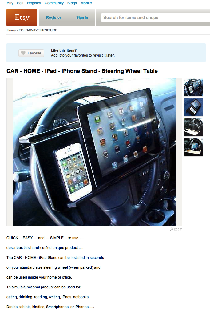 New Ipad dock guarantees you'll be in a car wreck within minutes.