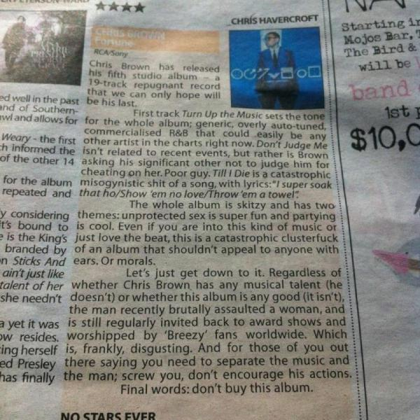 Album review does to Chris Brown what Chris Brown does to women.
