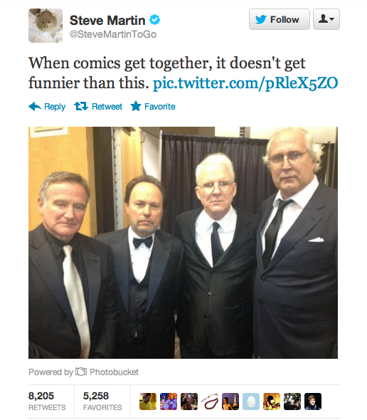 Steve Martin tweets photo of the hilarity that ensues when comedy legends hang out.