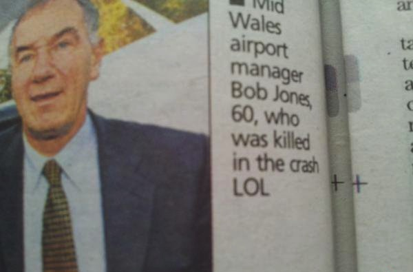 Obituary ruined by inadvertently insensitive typo.