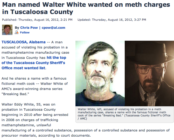 Real-life Walter White wanted on charges of meth manufacturing.