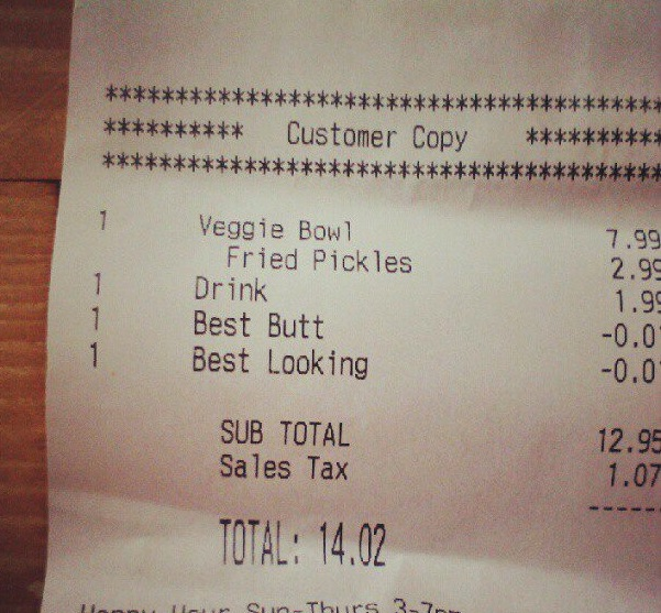 Restaurant charges nothing for being creepily attracted to you.