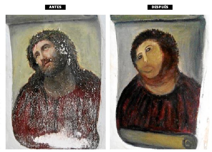 A perfectly horrifying example of how not to restore a painting of Jesus.
