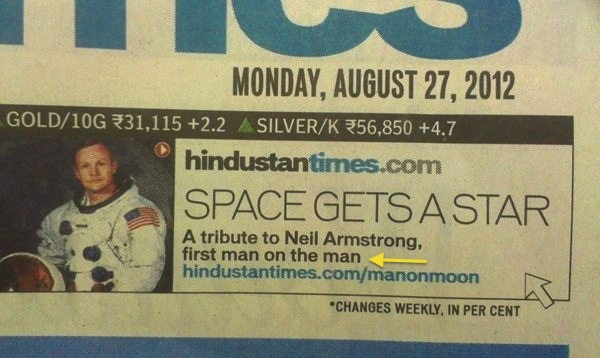 Newspaper accidentally pays tribute to Neil Armstrong as a pioneer in homosexuality.