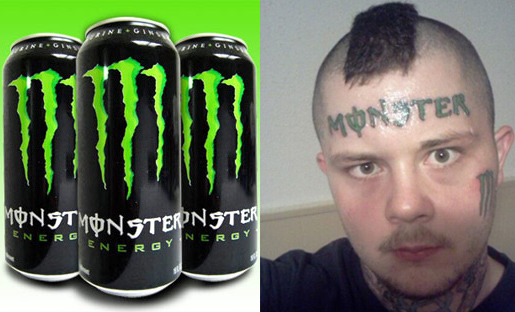 The perfect face tattoo for anyone who loves energy drinks more than they love their dignity.