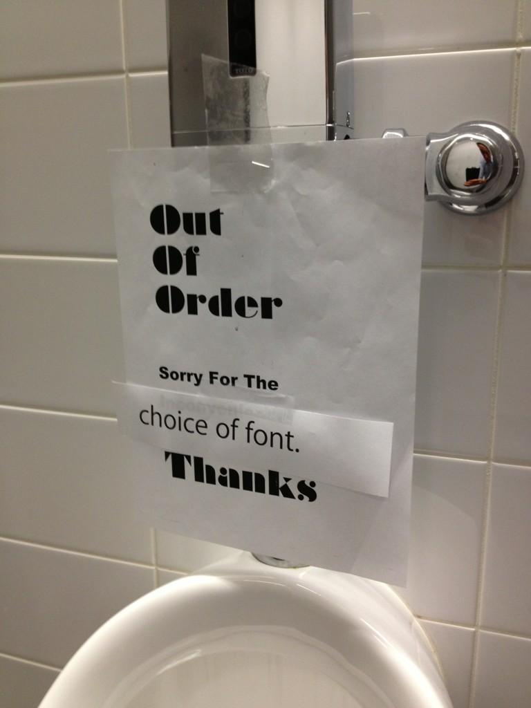 Workplace bathroom sign gets snobby response.