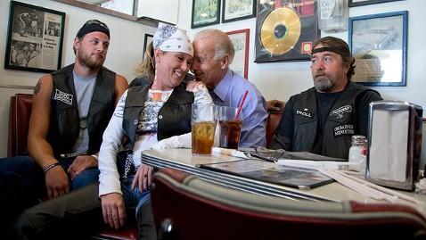 Joe Biden makes pit stop on campaign trail to grope female biker.