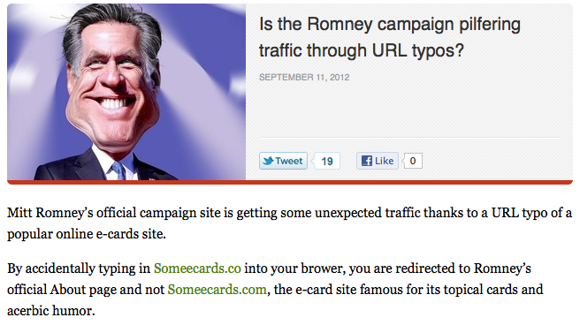 Mitt Romney campaign hits new low by stealing web traffic from Someecards.com.