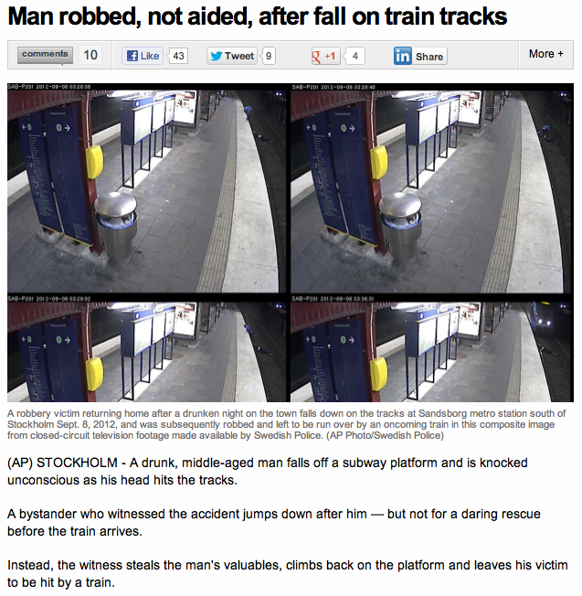 The least heroic act ever committed on subway tracks.