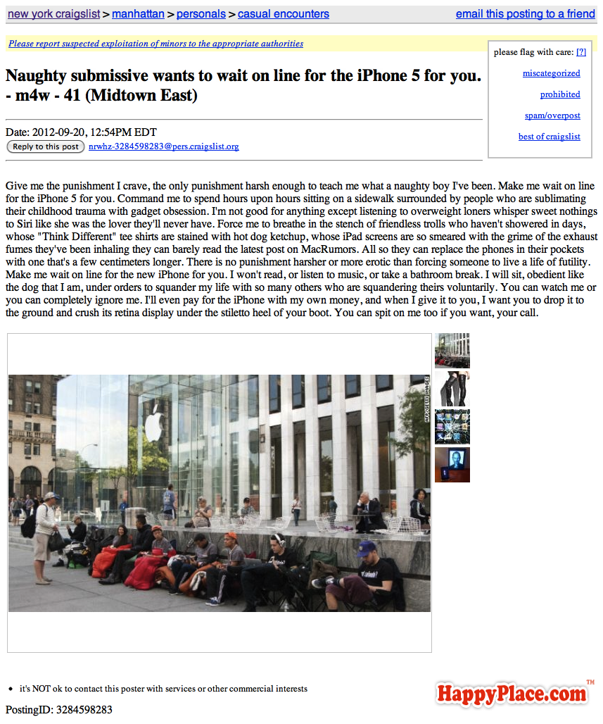 Naughty submissive wants to wait on line for the iPhone 5 for you.