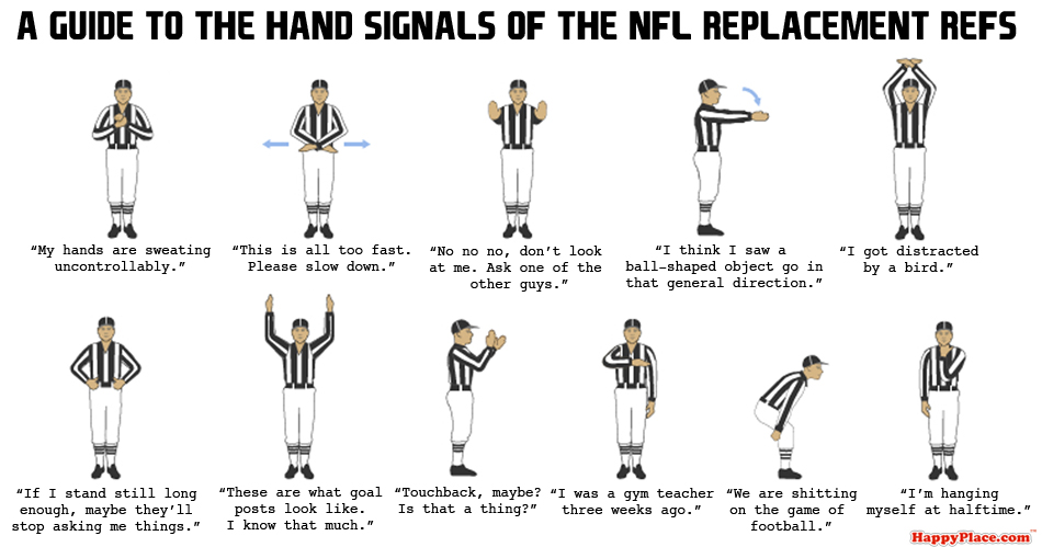 A guide to the hand signals of the NFL replacement refs.
