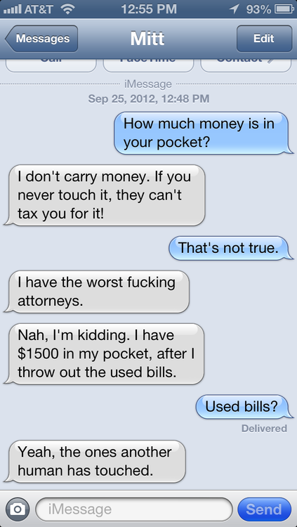 What it would look like to be inundated with texts from Mitt Romney.