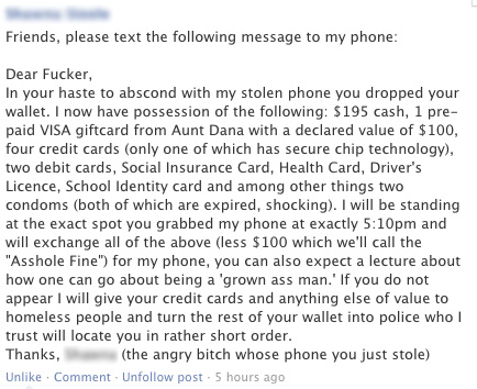 Woman uses Facebook to get incredible revenge on phone thief.