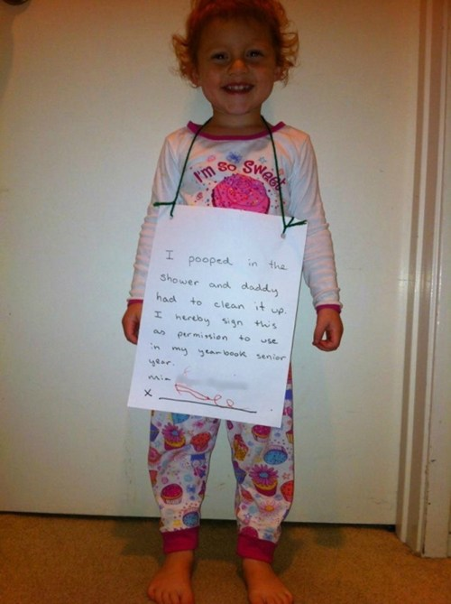 A brilliantly twisted way to shame a toddler on the Internet.