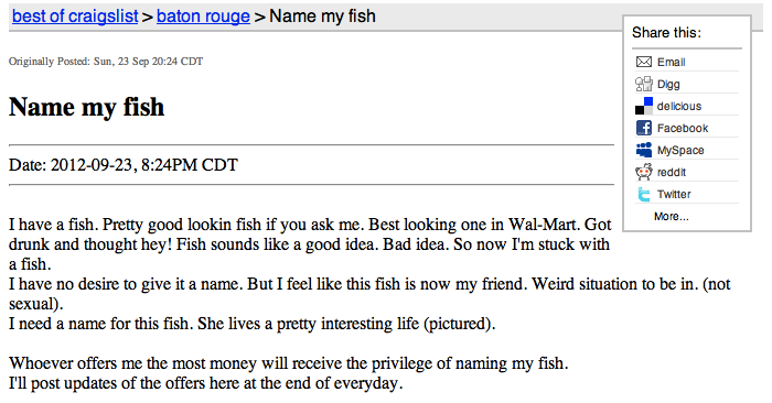 Guy on Craigslist wants you to name his beer pong-playing, porn-loving goldfish.