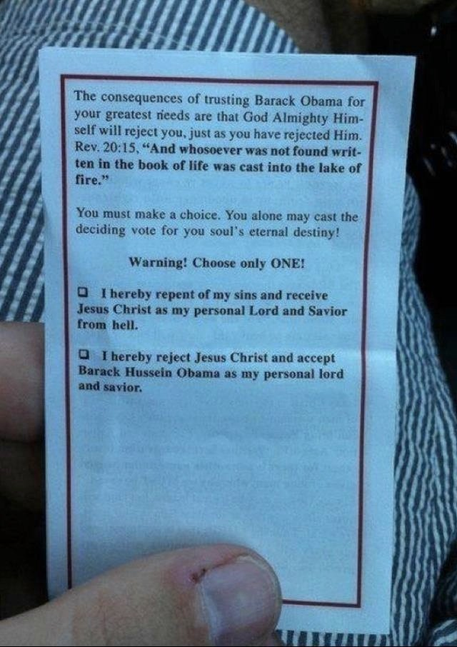 Christian pamphlet threatens Obama voters with eternal damnation.
