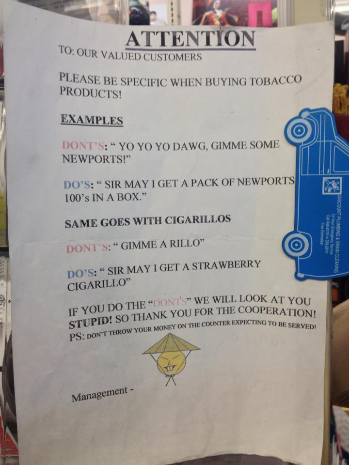 Asian shopkeeper sign manages to be as racist to black customers as it is to Asians.