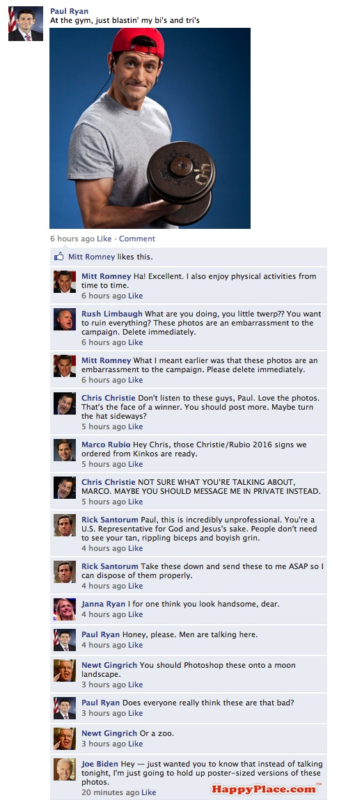 How Paul Ryan's Facebook friends would have reacted to his new photos.