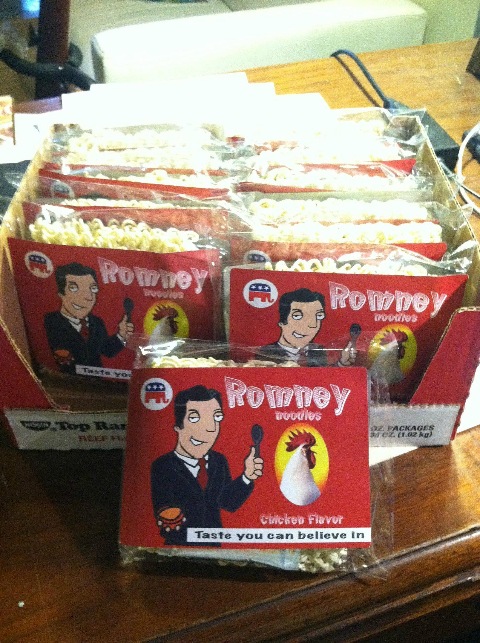 Romney endorses a food product no one in the Romney family has ever heard of.