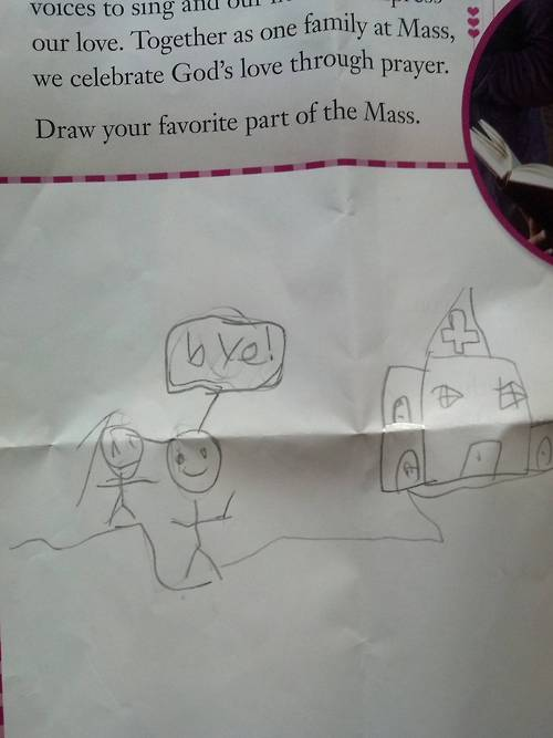 Child's drawing is brutally honest about his favorite part of church.