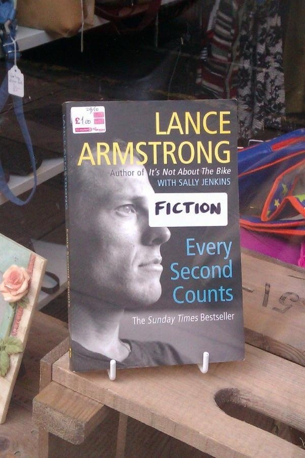 Bookstore reclassifies Lance Armstrong titles in light of doping report.