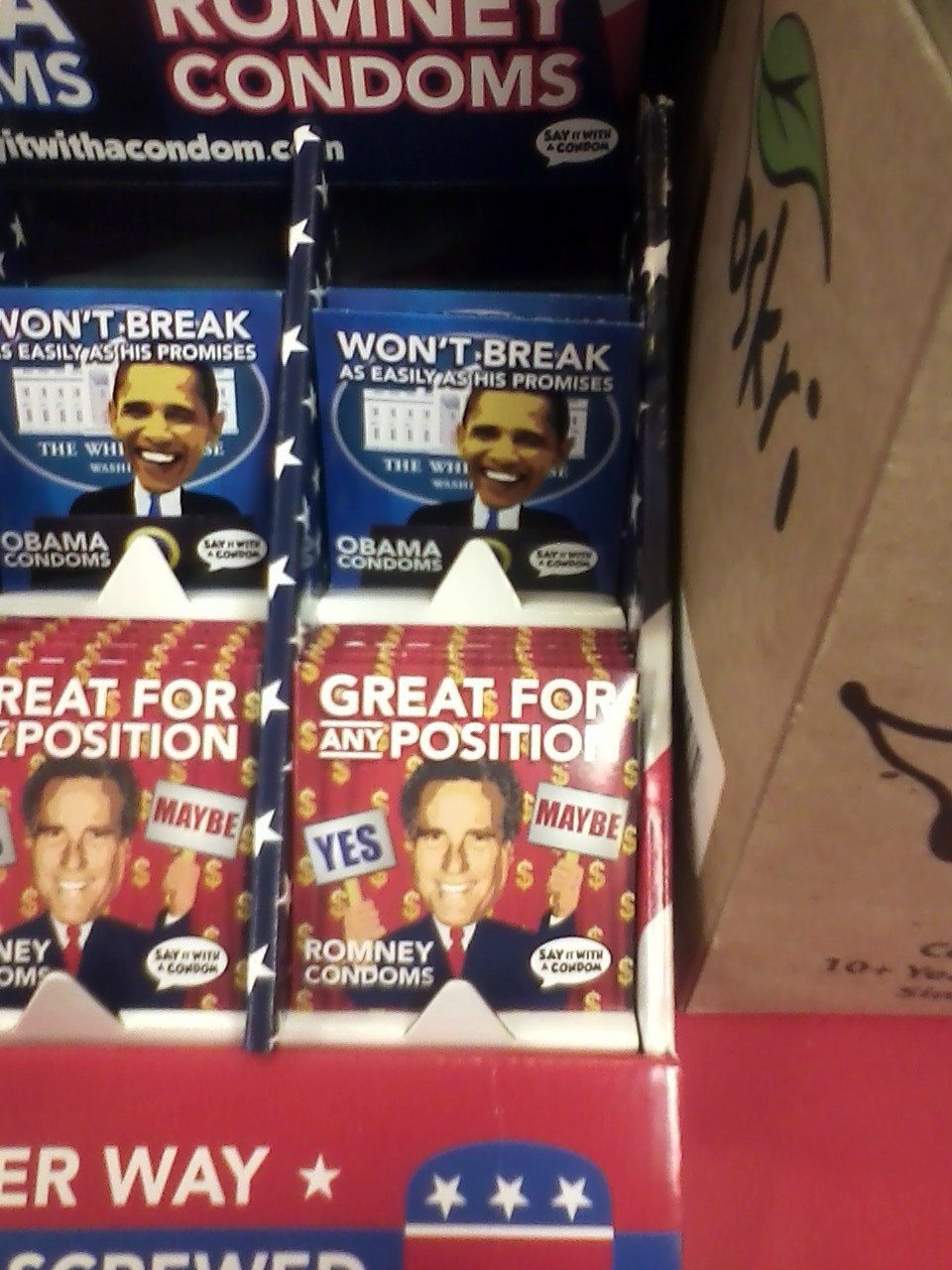 Presidential candidate condoms perfect for whichever way you get screwed this November.