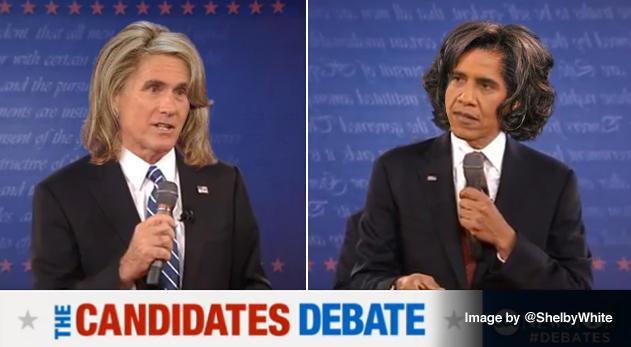 Our favorite presidential debate hair swap yet.