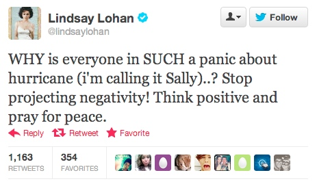 The most idiotic celebrity tweet about Hurricane Sandy you'll read today.