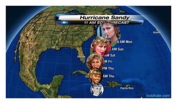The sexiest possible way to measure the progression of Hurricane Sandy.