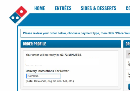 The polite way to order pizza during a hurricane.