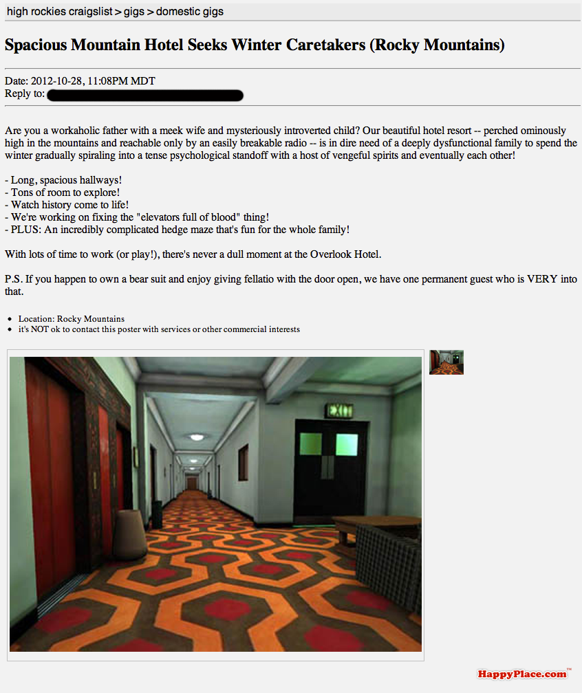If famous horror movies were told through Craigslist ads.