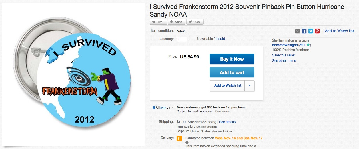 The most ridiculous Hurricane Sandy souvenirs being sold on eBay.