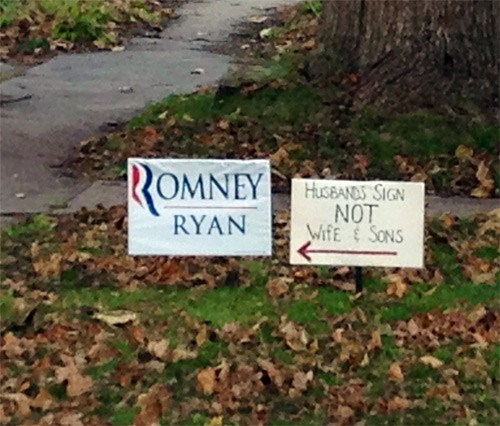 Family fights over politics via front lawn signs.