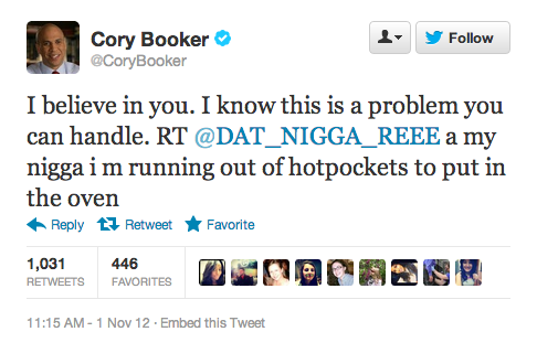 Newark Mayor Cory Booker uses Twitter to reach out to those least in need.