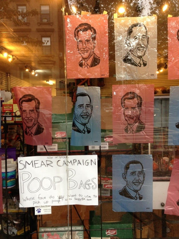 Pet store letting people vote for President with bags of poop.